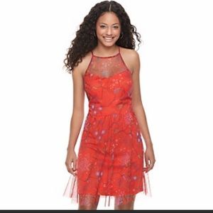 Red Floral Mesh High Neck Dress